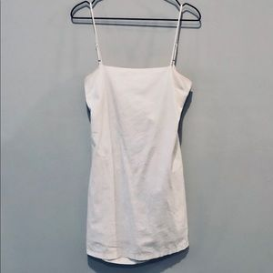 White Cotton Smock Dress with Tie Back